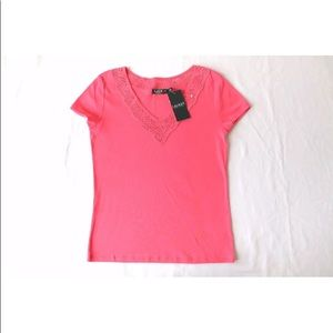 Ralph Lauren pink crochet top tee Woman L new